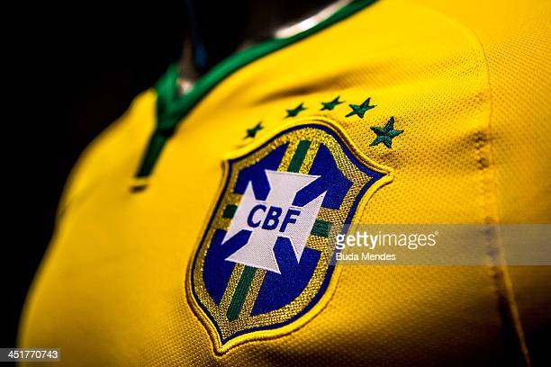 Brazil's football team jersey for the 2014 FIFA World Cup is unveiled on November 24 2013 in Rio de Janeiro Brazil
