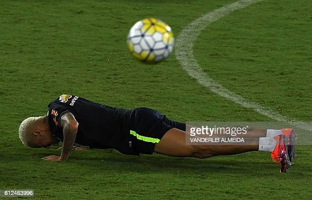 Brazil's football team player Neymar takes part in a training session at the Arena Dunas stadium in Natal Brazil on October 4 2016 Brazil will face...