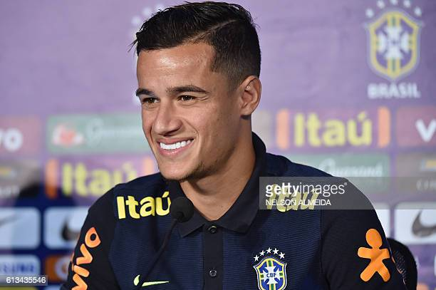 Brazil's football team player Philippe Coutinho speaks during a press conference after a training session at the Arena Dunas stadium in Natal Brazil...
