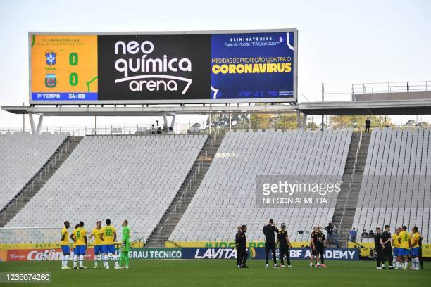 Brazil's football team players are seen after employees of the National Health Surveillance Agency entered to the field during the South American...