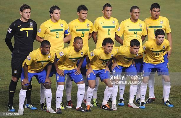 Brazil's football team players , goalkeeper Gabriel , Bruno Uvini , Willian , Danilo , Juan and Casemiro ; : Fernando , Gabriel Silva , Alan Patrick...