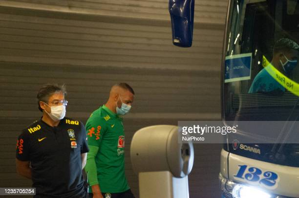 Brazil's football team Weverton as members of the Brazil federation of football team board their bus at the Grand Hyatt Hotel in Bogota, Colombia to...