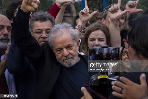 Brazil's former President Lula da Silva leaves the Federal Police headquarters following his release in Curitiba Brazil on November 08 2019 Brazil...