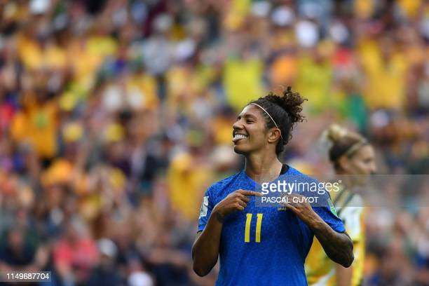 Brazil's forward Cristiane celebrates after scoring a goal during the France 2019 Women's World Cup Group C football match between Australia and...