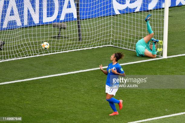 Brazil's forward Cristiane reacts after scoring a goal during the France 2019 Women's World Cup Group C football match between Australia and Brazil...