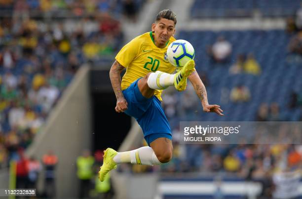 Brazil's forward Firmino controls the ball during an international friendly football match between Brazil and Panama at the Dragao stadium in Porto...
