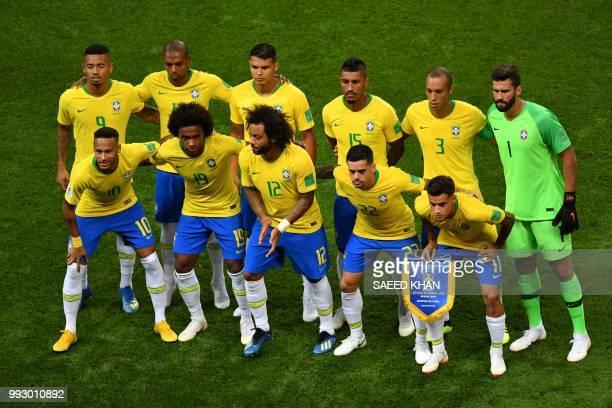 Brazil's forward Gabriel Jesus Brazil's midfielder Fernandinho Brazil's defender Thiago Silva Brazil's midfielder Paulinho Brazil's defender Miranda...