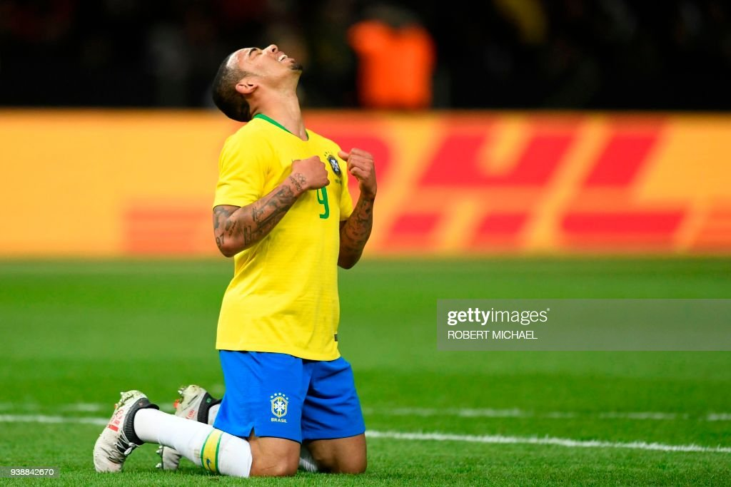 Brazil's forward Gabriel Jesus celebrates after scoring a goal during the international friendly football match between Germany and Brazil in Berlin, on March 27, 2018. /
