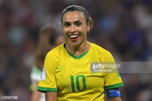 Brazil's forward Marta reacts during the France 2019 Women's World Cup round of sixteen football match between France and Brazil on June 23 at the...