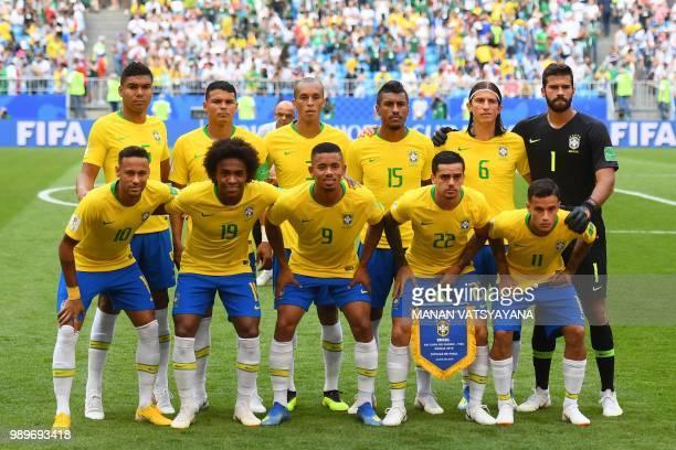 Brazil's forward Neymar Brazil's forward Willian Brazil's forward Gabriel Jesus Brazil's defender Fagner Brazil's forward Philippe Coutinho Brazil's...