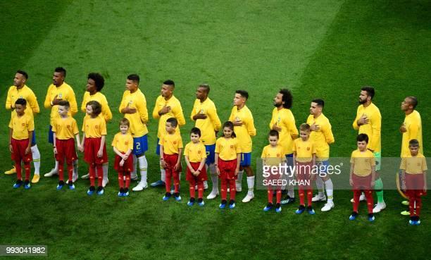 Brazil's forward Neymar Brazil's midfielder Paulinho Brazil's forward Willian Brazil's defender Thiago Silva Brazil's forward Gabriel Jesus Brazil's...