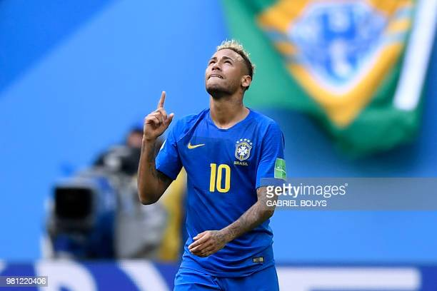 Brazil's forward Neymar celebrates a goal during the Russia 2018 World Cup Group E football match between Brazil and Costa Rica at the Saint...