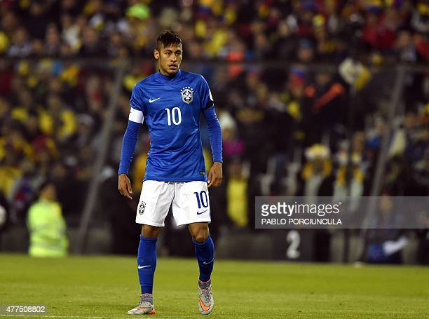Brazil's forward Neymar is seen after receiving a yellow card during their 2015 Copa America football championship match in Santiago Chile on June 17...