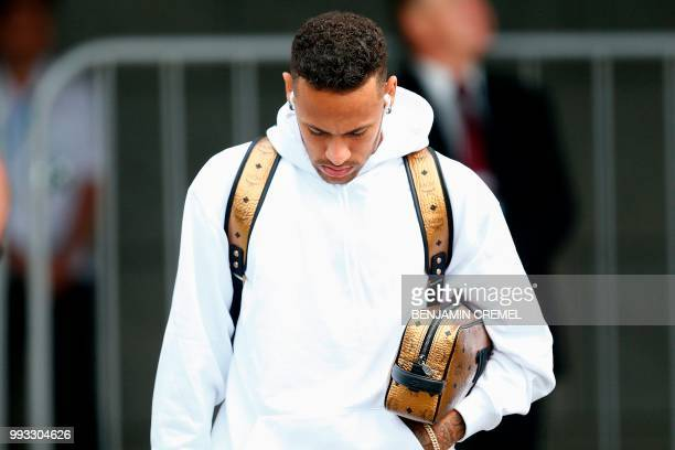 Brazil's forward Neymar leaves his team's hotel in Kazan on July 7 a day after the fivetime champions crashed out of the Russia 2018 World Cup...