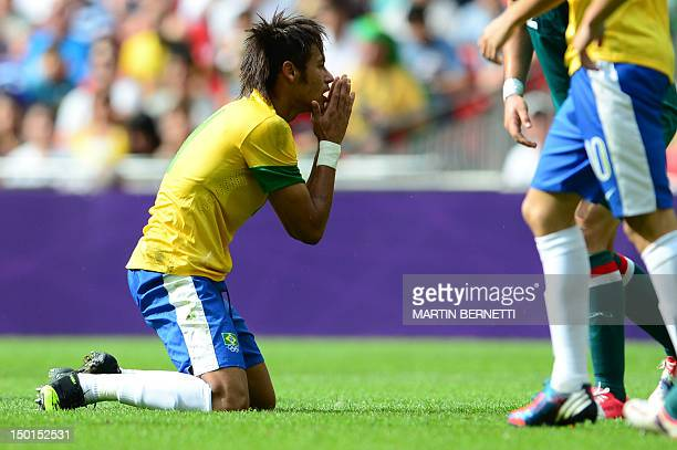 Brazil's forward Neymar reacts while playing in the men's football final match between Brazil and Mexico at Wembley stadium during the London Olympic...