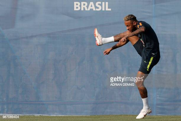 TOPSHOT Brazil's forward Neymar takes part in a training session at the YugSport Stadium in Sochi on June 29 2018 during the Russia 2018 World Cup...