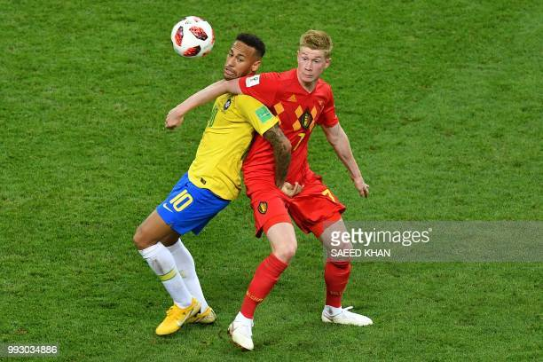 Brazil's forward Neymar vies with Belgium's midfielder Kevin De Bruyne during the Russia 2018 World Cup quarterfinal football match between Brazil...