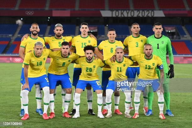Brazil's forward Richarlison, Brazil's midfielder Bruno Guimaraes, Brazil's midfielder Claudinho, Brazil's forward Antony, Brazil's defender Dani...