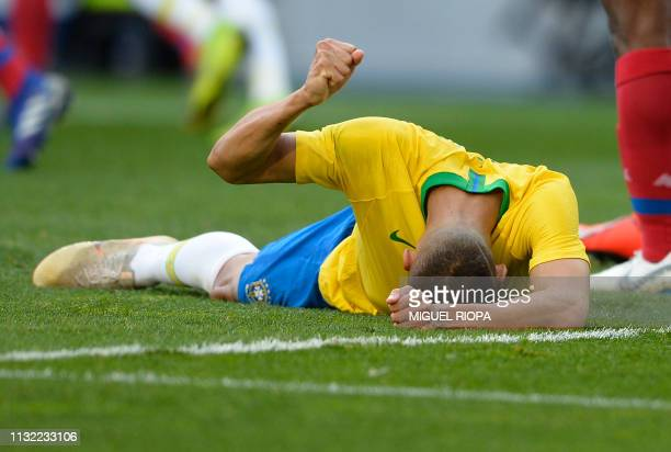 Brazil's forward Richarlison gestures after mising an attempt on goal during an international friendly football match between Brazil and Panama at...