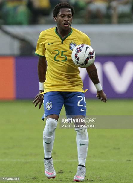 Brazil's Fred during a friendly match against Mexico in preparation for Copa America Chile 2015 at Allianz Parque stadium in Sao Paulo Brazil on June...