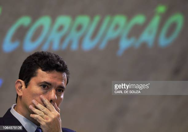 Brazil's future Minister of Justice Sergio Moro gestures during a national forum on combating corruption in Rio de Janeiro Brazil on November 23 2018...