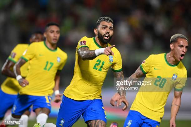Brazil's Gabriel Barbosa celebrates after scoring against Venezuela during the South American qualification football match for the FIFA World Cup...