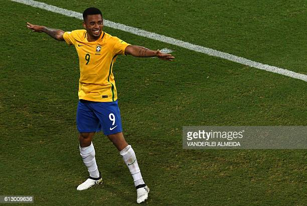 Brazil's Gabriel Jesus celebrates after scoring against Bolivia during their Russia 2018 World Cup football qualifier match in Natal Brazil on...
