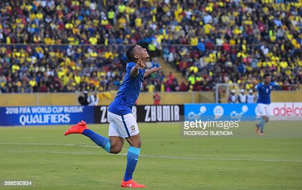 Brazil's Gabriel Jesus celebrates during their 2018 FIFA World Cup qualifying football match between Ecuador and Brazil at the Atahualpa stadium in...