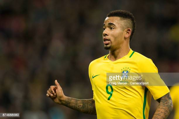 Brazils Gabriel Jesus during the Bobby Moore Fund International between England and Brazil at Wembley Stadium on November 14 2017 in London England