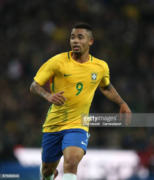 Brazil's Gabriel Jesus during the Bobby Moore Fund International between England and Brazil at Wembley Stadium on November 14 2017 in London England