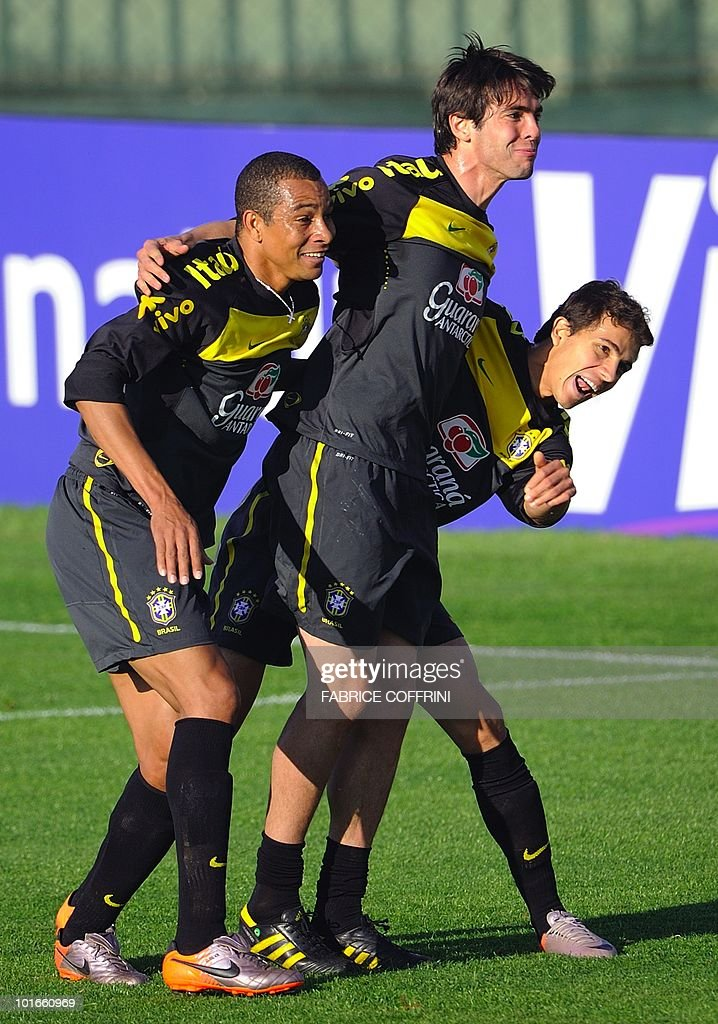 Brazil's (L-R) Gilberto Silva, Kaka and Nilmar celebrate after scoring a goal during a training session at the Randburg High School in Johannesburg on June 6, 2010 ahead of the 2010 World Cup football tournament in South Africa.