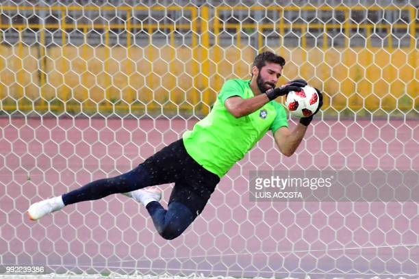 Brazil's goalkeeper Alisson attends a training session at the Tsentralny Stadium in Kazan on July 5 on the eve of the Russia 2018 World Cup quarter...