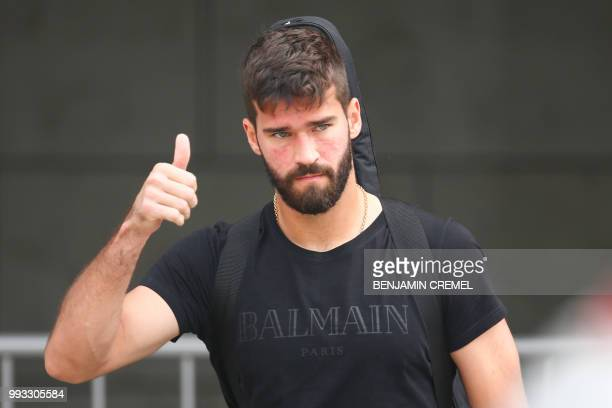 Brazil's goalkeeper Alisson leaves his team's hotel in Kazan on July 7 a day after the fivetime champions crashed out of the Russia 2018 World Cup...