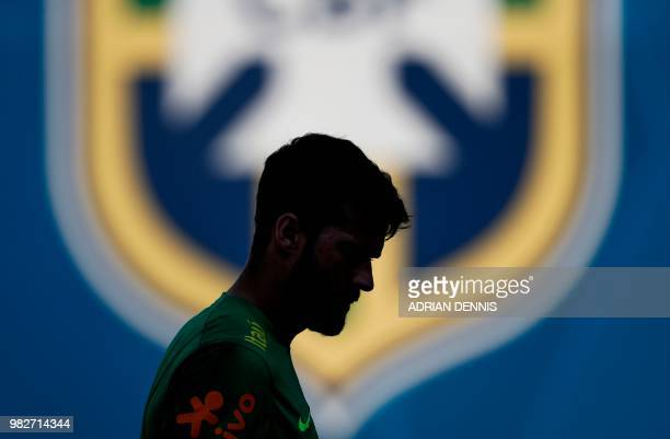 Brazil's goalkeeper Alisson takes part in a training session at the Yug Sport Stadium in Sochi on June 24 during the Russia 2018 FIFA World Cup...