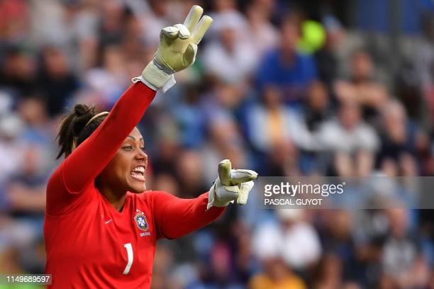 TOPSHOT Brazil's goalkeeper Barbara reacts during the France 2019 Women's World Cup Group C football match between Australia and Brazil on June 13 at...