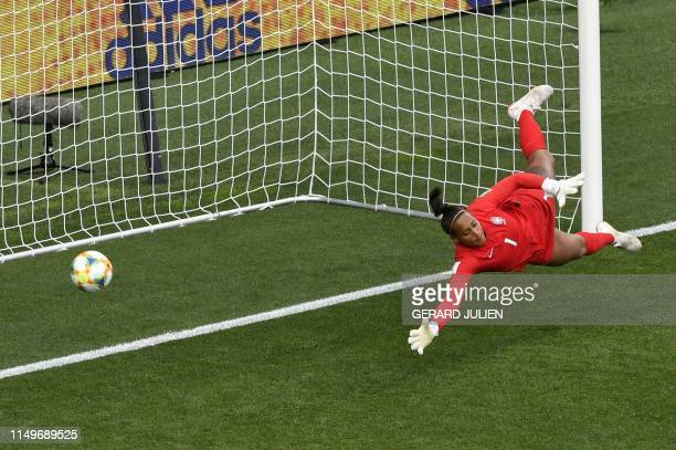 Brazil's goalkeeper Barbara takes a second goal during the France 2019 Women's World Cup Group C football match between Australia and Brazil on June...