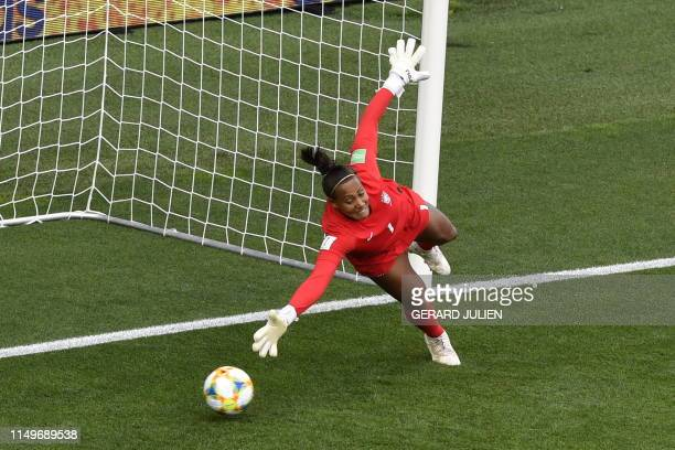 Brazil's goalkeeper Barbara takes a second goal during the France 2019 Women's World Cup Group C football match between Australia and Brazil, on June...