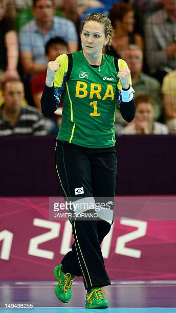 Brazil's goalkeeper Chana Masson reacts during the women's preliminaries Group A handball match Croatia vs Brazil for the London 2012 Olympics Games...