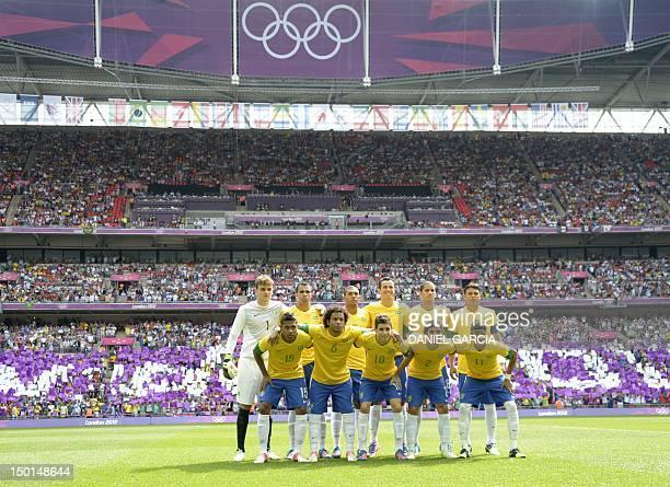 Brazil's goalkeeper Gabriel Brazil's midfielder Sandro Brazil's defender Juan Jesus Brazil's defender Romulo Brazil's forward Leandro Damiao and...
