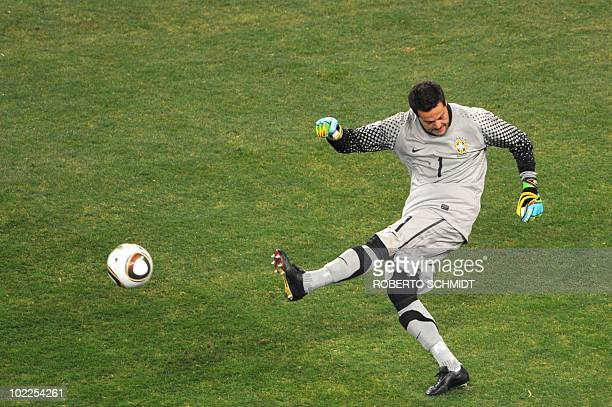 Brazil's goalkeeper Julio Cesar kicks the ball during the 2010 World Cup group G first round football match between Brazil and Ivory Coast on June 20...