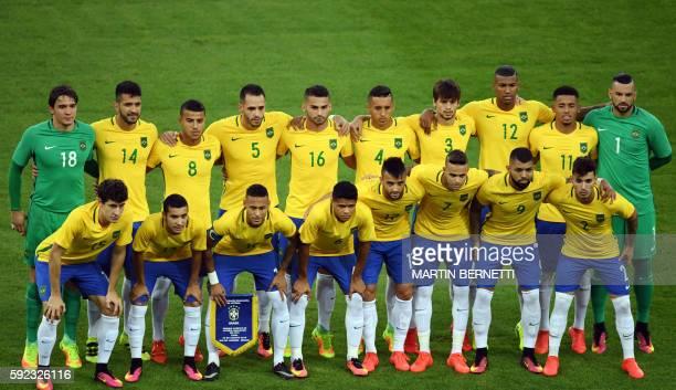 Brazil's goalkeeper Uilson Brazil's defender Luan Garcia Brazil's midfielder Rafinha Brazil's midfielder Renato Augusto Brazil's midfielder Thiago...