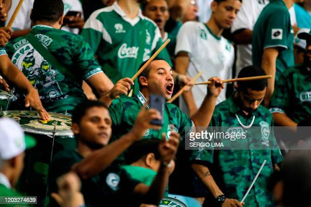 Brazil's Goias fans cheer for their team before the start of a Copa Sudamericana football match against Sol de America of Paraguay at the Pedro...