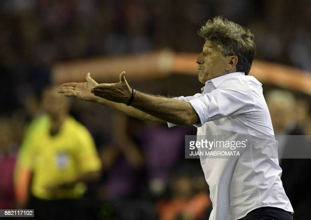 Brazil's Gremio coach Renato Gaucho gestures during the Copa Libertadores 2017 final football match against Argentina's Lanus at Lanus stadium in...