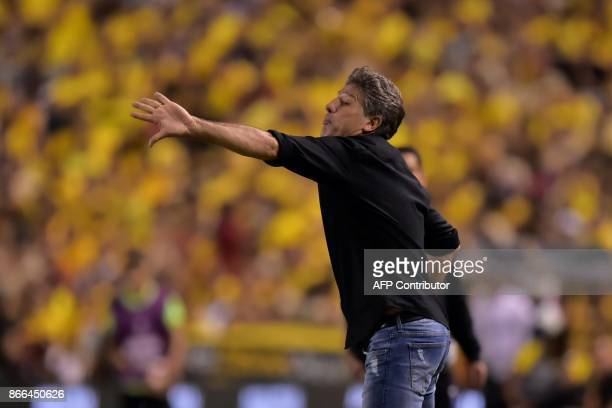 Brazil's Gremio coach Renato Gaucho gestures during their 2017 Libertadores Cup football match held al Monumental stadium in Guayaquil Ecuador on...