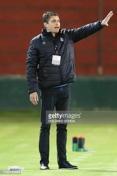 Brazil's Gremio coach Tiago Nunes gestures during the Copa Sudamericana football tournament group stage match againt Colombia's La Equidad at the...