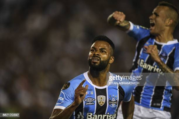 Brazil's Gremio forward Fernandinho celebrates after scoring a goal against Argentina's Lanus during the Copa Libertadores 2017 final football match...