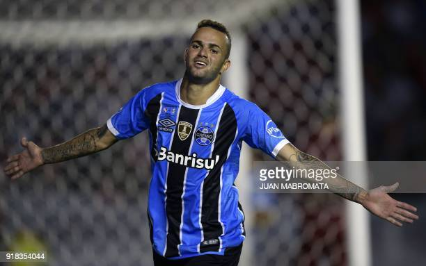 Brazil's Gremio forward Luan celebrates after scoring a goal against Argentina's Independiente during their Recopa Sudamericana 2018 first leg final...