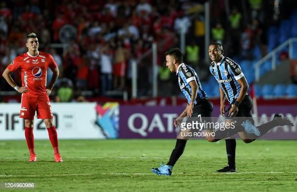 Brazil's Gremio midfielder Matheus Henrique celebrates his goal against Colombia's America de Cali during their 2020 Copa Libertadores football match...