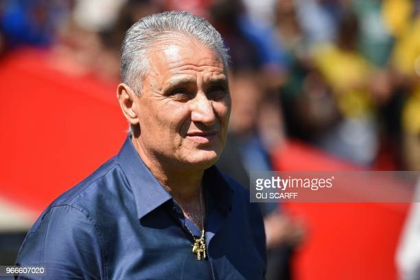 Brazil's head coach Tite awaits kick off in the International friendly football match between Brazil and Croatia at Anfield in Liverpool on June 3...