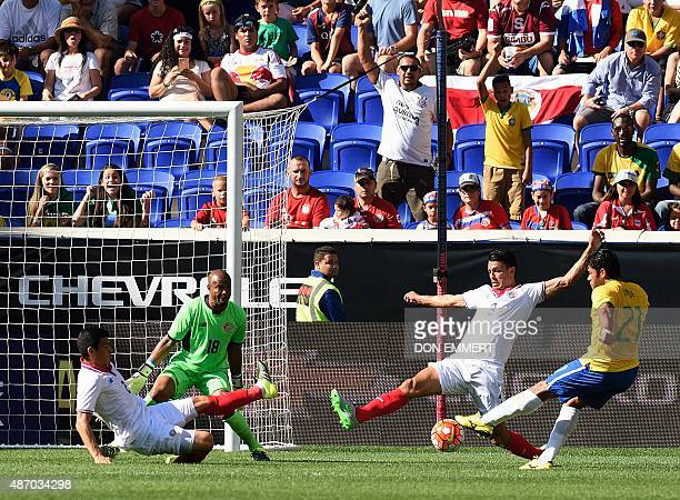 Brazil's Hulk shoots for a goal during the friendly match between Brazil and Costa Rica on September 5 2015 at Red Bulls Arena in Harrison New Jersey...